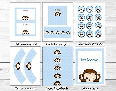 Monkey Baby Shower Decorations (Boy Pop Monkey Blue Printable Baby Shower Party)