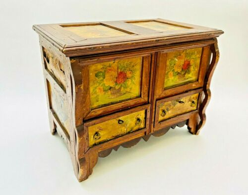 Antique Pennsylvania Folk Art Painted Decoupage Flower Wood Blanket Chest