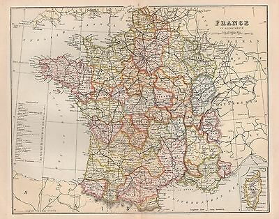 1900 Ca ANTIQUE MAP FRANCE