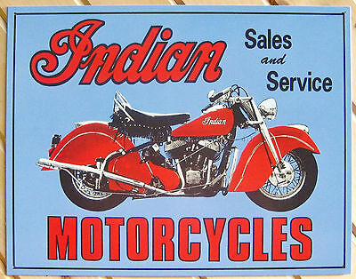 Indian Motorcycle red and blue TIN SIGN metal poster vtg bar garage decor ad 127