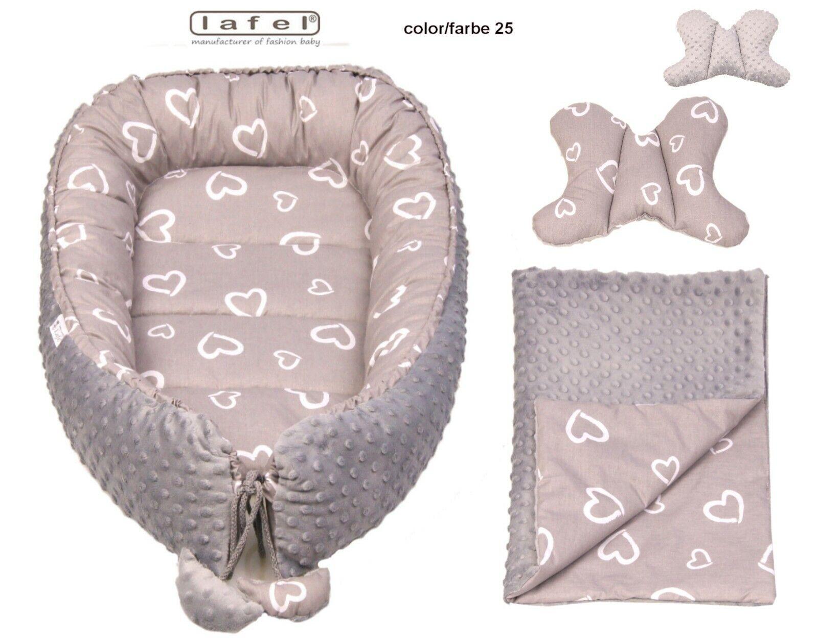 Babynest Kuschelnest Cocoon Baumwolle Babybett 3-teilig LAFEL