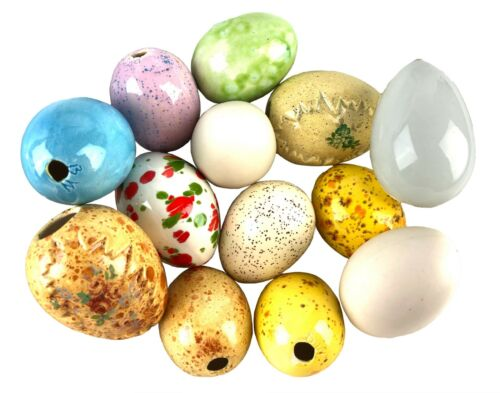 Lot of 13 Mixed Blown Glass & Ceramic Easter Eggs Speckled Glazed