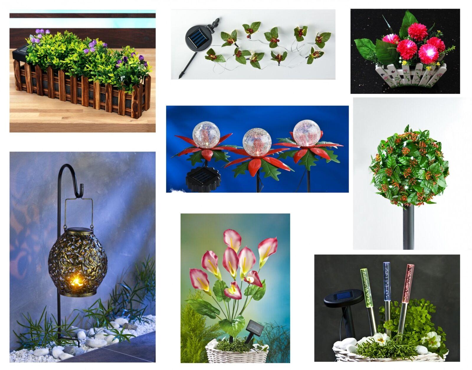 LED Solar Gartendeko Blumenkasten Laterne Solarleuchte Lichterkette Kunstpflanze