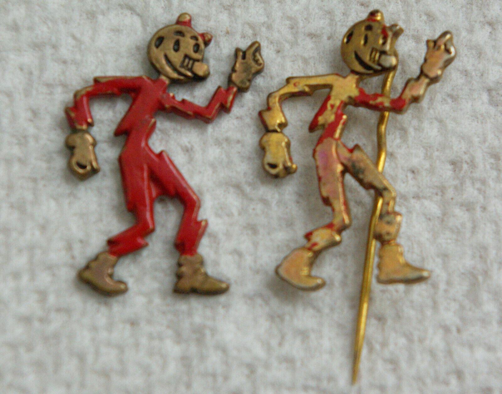 Vintage Reddy Kilowatt Pins Electrical Cartoon Character Lot Of 2 - $11.99