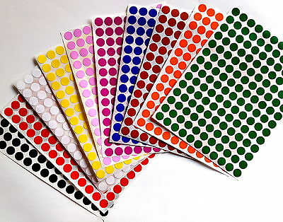 Color Coded Stickers 38 Labels Round Small Dots 0.375 Inch Circle 10mm 700 Pack