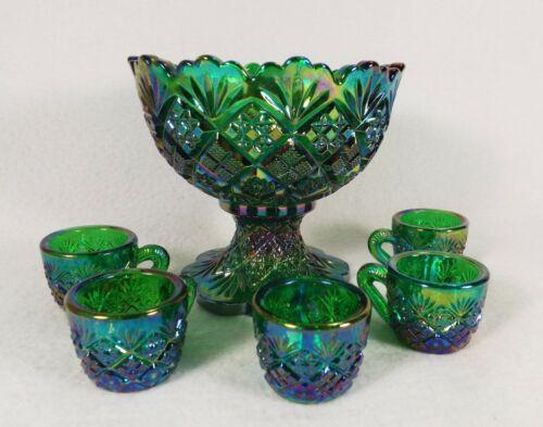 Westmoreland Thumbelina Miniature Punch Bowl Set Rare Color Dk Green Carnival