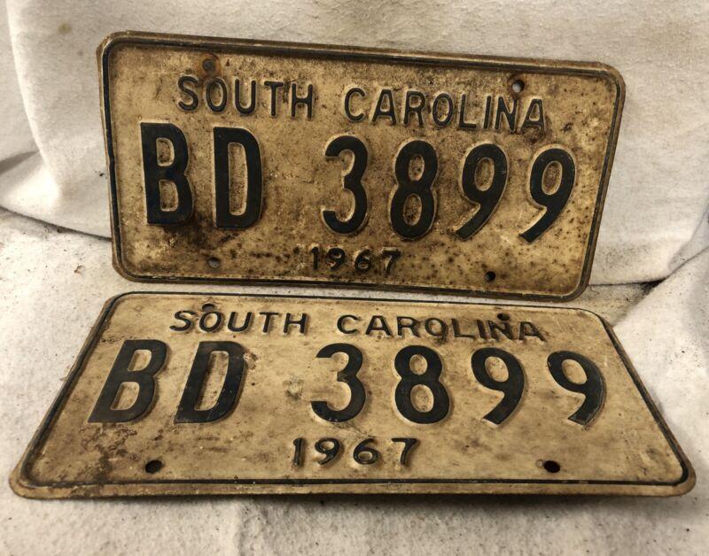 Vintage 1967 South Carolina License Plate Pair