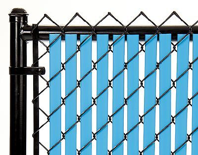 Chain Link Sky Blue Double Wall Tube™ Privacy Slat 4ft High Fence Bottom Lock