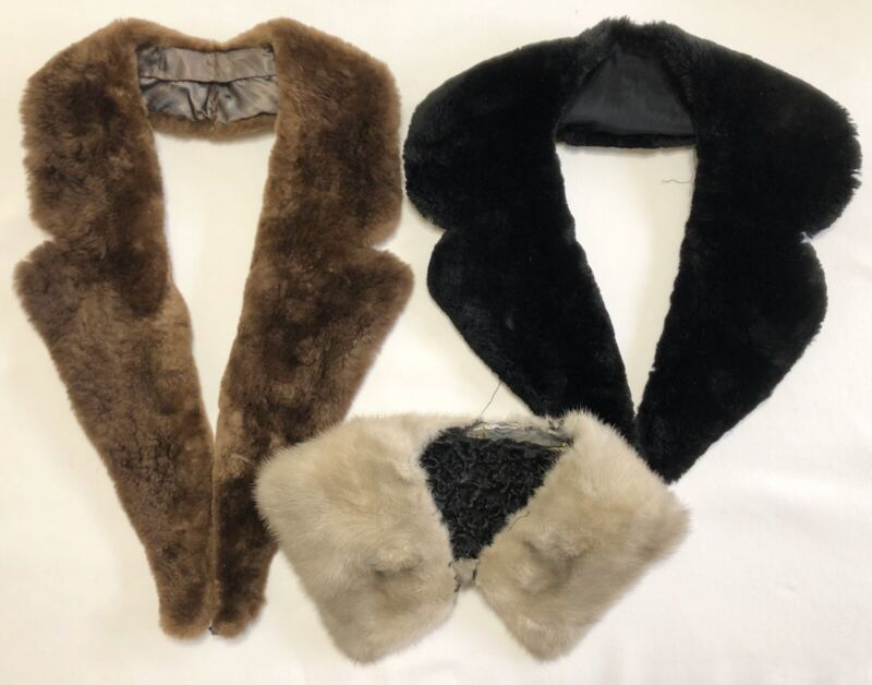 Lot of 3 Vintage REAL Fur Collars; Various Styles & Sizes (RF1079)