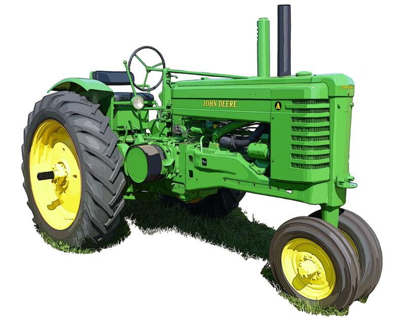 John Deere Model A canvas art print by Richard Browne farm tractor