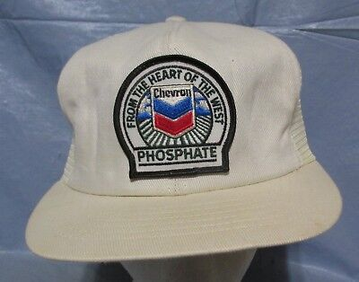 Vintage Chevron Snap Back Cap From The Heart of the West Phosphate White Hat White Hearts Snap