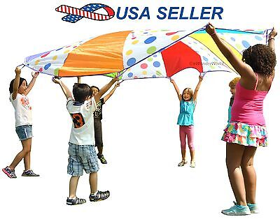 Kids Fun Play 10 Ft Parachute Outdoor Game Team Work Activity for Gym & Park