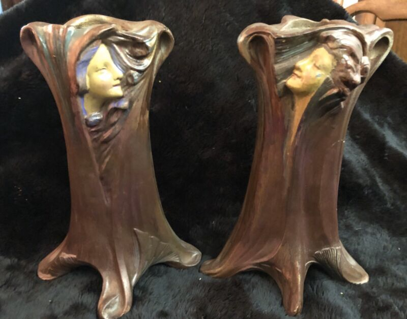 Pair of Antique Art Nouveau Cold Painted Spelter Lady in Tree Vases