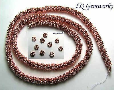 "16"" Str BRIGHT COPPER 4mm Daisy Spacer Beads"