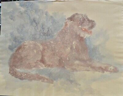 AIREDALE BITCH DOG ANIMAL PAINTING BY ARTHUR WARDLE REPRO