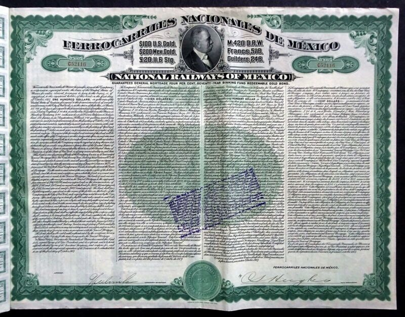 1907 National Railways of Mexico - $100 US Gold, not cancelled