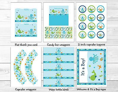 Under the Sea Baby Boy Nautical Printable Baby Shower Party Package (Under The Sea Baby Shower Decorations)