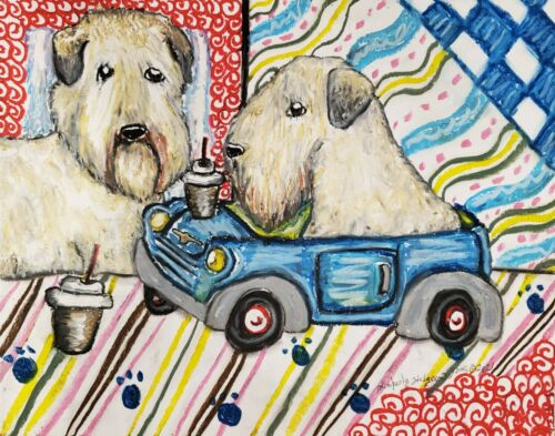 Wheaten Terrier drinking Coffee Car 4x6 Art Print Signed Artist KSams Painting