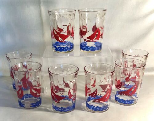"""8 Hazel-Atlas 4 1/8"""" Crystal Tumblers With Red Sailboats"""