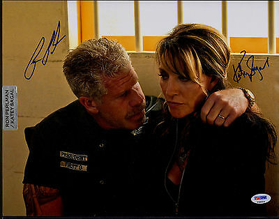 Ron Perlman   Katey Sagal Sons Of Anarchy Signed Autograph 11X14 Photo Psa Dna