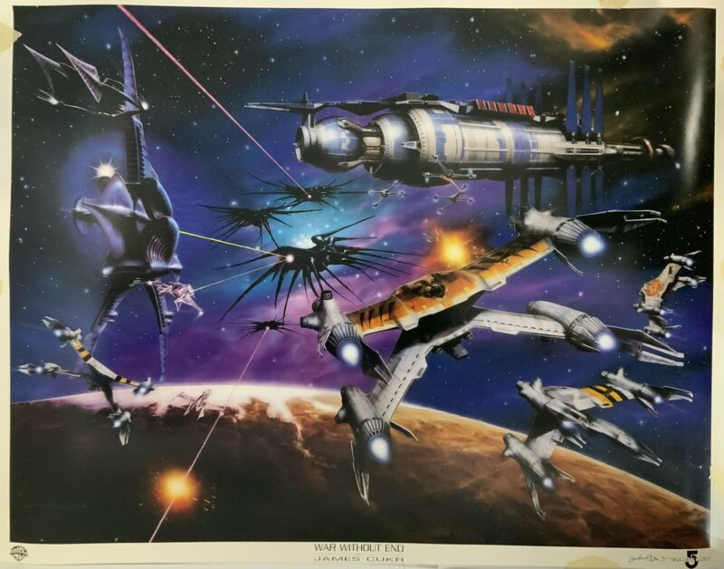 Babylon 5 1998 War Without End By James Cukr Poster Hand Signed John Iacovelli