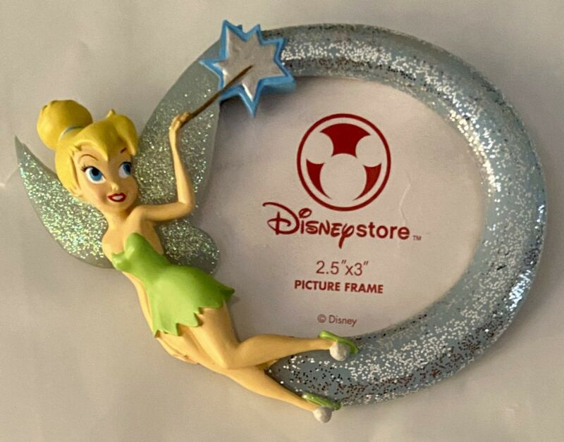 """Disney Store Tinker Bell Figurine Glitter Small Picture Frame 2.5""""x3"""" Rare New"""