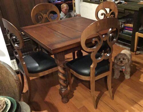 English Antique Oak Barley Twist Draw Leaf Kitchen/Dining Table + 4 Chairs
