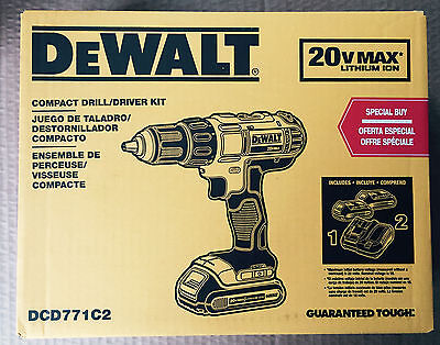 """*NEW*FAST SHIPPING* DeWALT DCD771C2 20V Li-Ion 1/2"""" Cordless Drill/Driver Kit"""