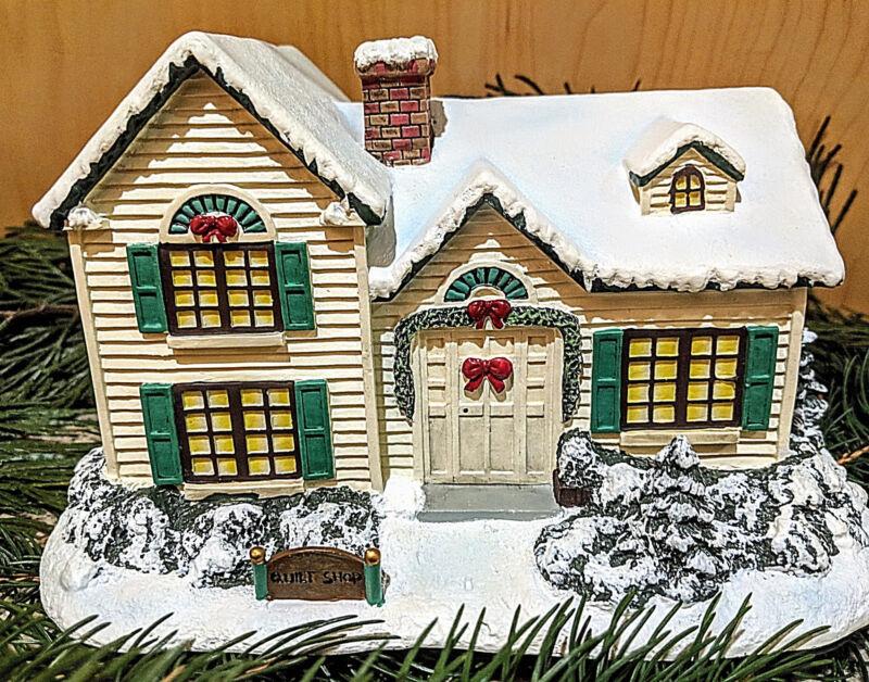 Thomas Kinkade Village Christmas Illuminated Sculpture ~Quilt Shop ...
