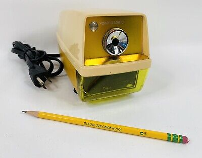 Vintage 1970s Yellow Panasonic Point O Matic Electric Pencil Sharpener Kp-33 A