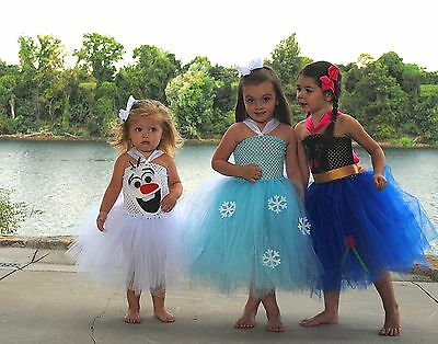 Frozen Inspired Halloween Tutu Costume Dress Elsa Anna and Olaf Inspired