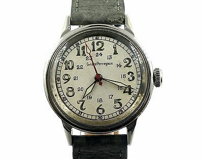 VINTAGE GIRARD PERREGAUX WWII 24HR SILVER DIAL STAINLESS STEEL WRIST WATCH