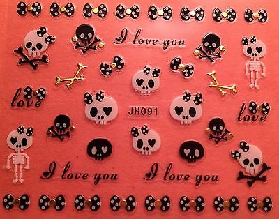 D Halloween (Nail Art 3D Decal Stickers Halloween I Love You Skeleton Bows Skull)