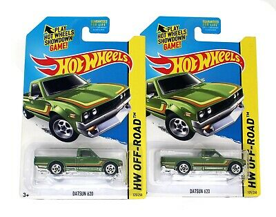 Hot Wheels Nissan Datsun 620 Pickup Truck 2013 GREEN (Lot of 2) NEW 1:64