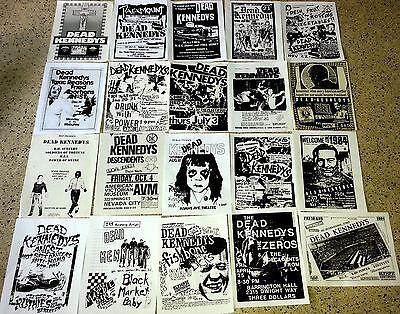 DEAD KENNEDYS 20 flyer set, repro 8.5x11,Rare Punk Concert Flyers, 80's Hardcore