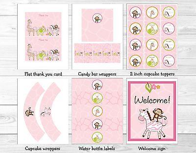 Pink Safari Baby Shower Decorations (Pink Safari Girl Jungle Animal Printable Baby Shower Party)