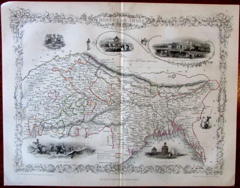 Northern India c. 1850 Tallis Rapkin decorative old engraved map w/ vignettes