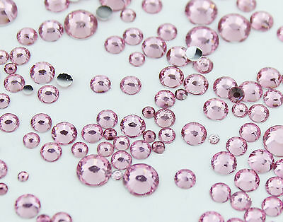 10g Pink Mixed Size Rhinestones