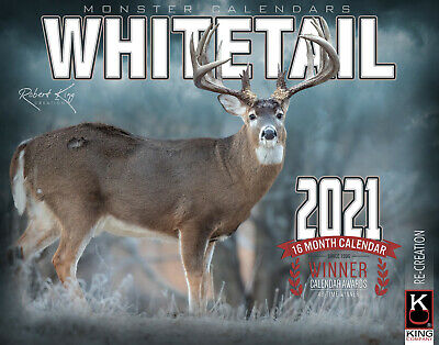 2021 Whitetail Deer Wall Calendar by The KING Company (free shipping)