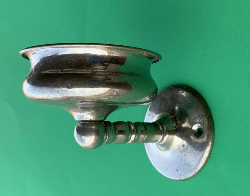 1875 Antique Hardware Victorian Chrome Nickel Bathroom Soap/Cup Holder Accessory