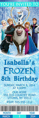 Printed Frozen Movie Custom Birthday Party Ticket - Frozen Custom Invitations