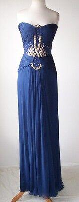 ROBERTO CAVALLI Blue Silk Pleated Jeweled Bustier Corset Dress Gown 42 4 6
