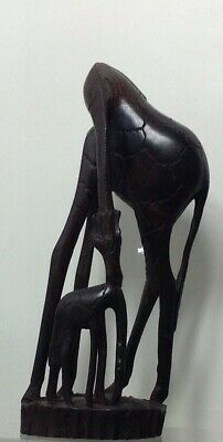 Hand carved Abstract African Wood Carving of a Mother & Baby Giraffe Sculpture