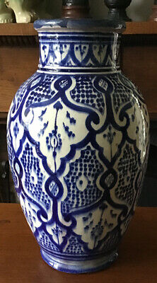 """14"""" Tall Blue & White Hand Painted Antique Moroccan Safi Vase. Marked To Base"""