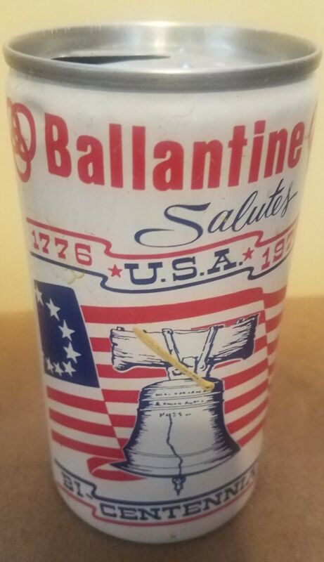 Vintage Ballantine Salutes USA Bicentennial Open Pull Tab 12oz Empty Beer Can