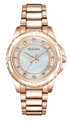 Bulova Women's Quartz Diamond Accent Gold-Tone 32mm Watch 98P141