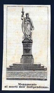 TREVISO-XILOGRAFIA-MONUMENTO-MORTI-INDIPENDENZA-LE-CENTO-CITTA-039-D-039-ITALIA-1888