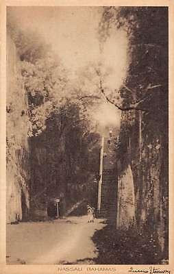 Nassau Bahamas scenic birds eye view Queens Stairway antique pc Z19453