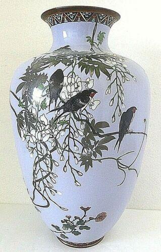 "Antique Japanese Meiji Cloisonne Enamel Lilac Blue Wisteria Birds 12"" Large Vase"