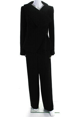Giorgio Armani Womens Two Piece Straight Leg Pant Suit Black Striped Size 14